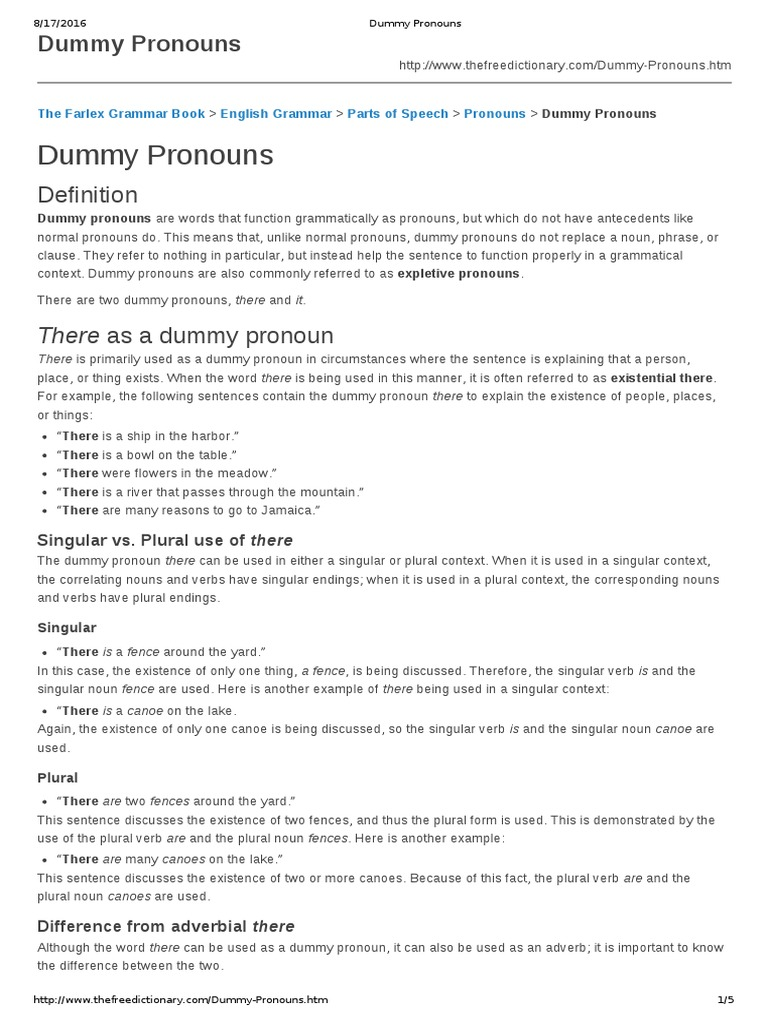 Dummy Pronounspdf Grammatical Number Pronoun