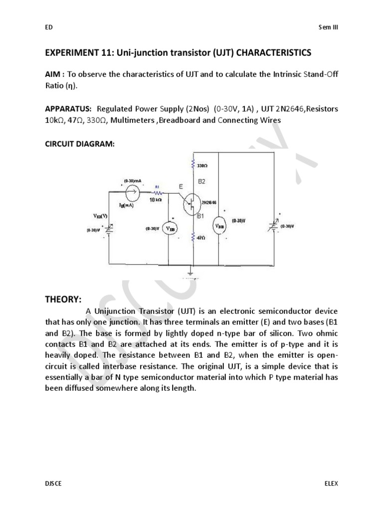 Expt 11 Ujt Electromagnetism Electronic Engineering Circuit Diagram Of 0 30v Regulated Power Supply