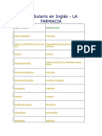 Vocabulario en Inglés Farmacia