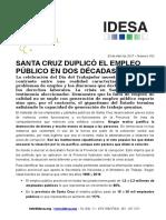 Informe IDESA sobre empleados públicos en Santa Cruz