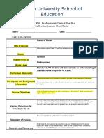 reflective lesson plan model