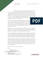 Carta de Podemos al presidente de la Gestora del PSOE