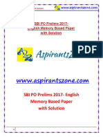 SBI PO Prelims 29 apr 2017 English Memory Based Paper