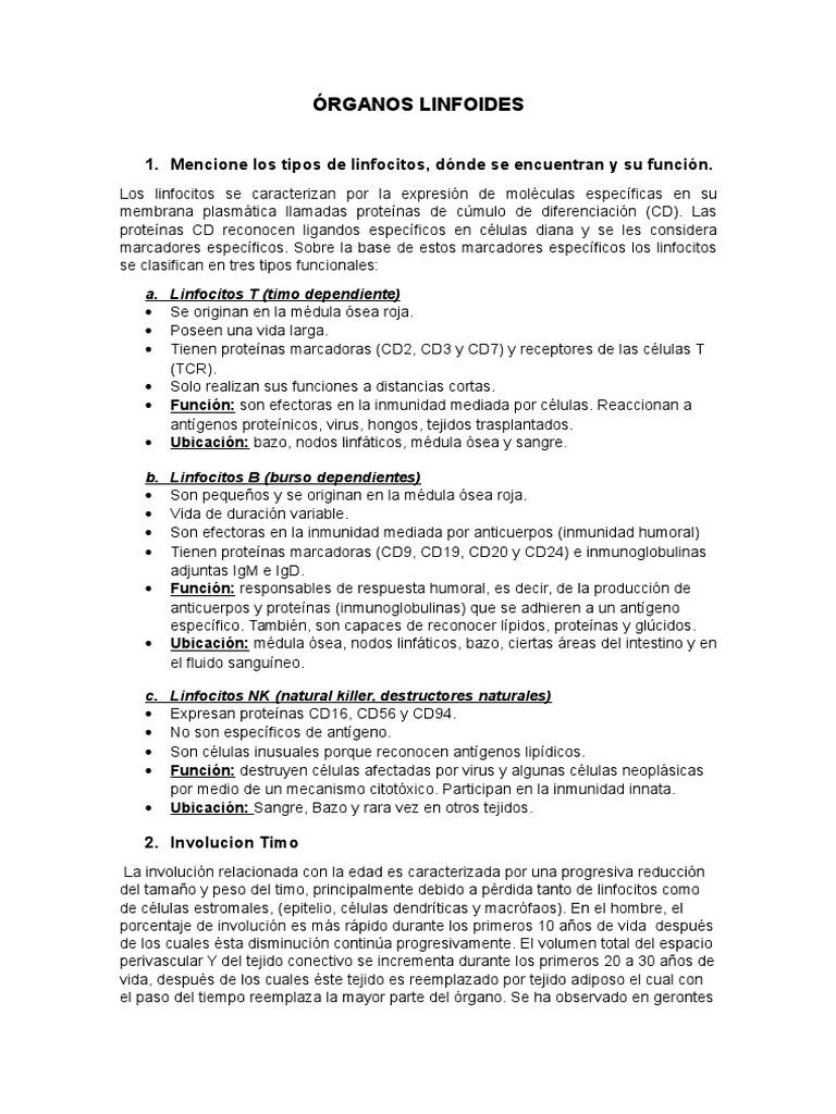CUESTIONARIO LINFOIDE