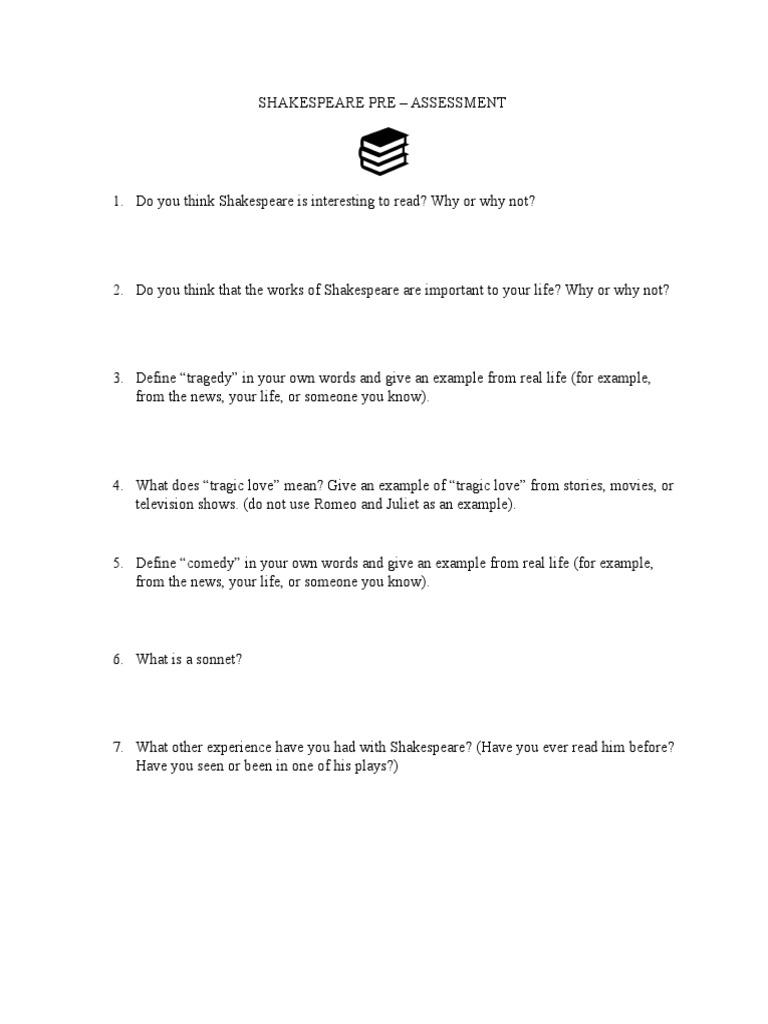 shakespeare pre assessment