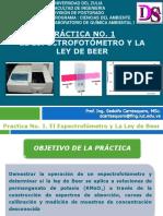 Práctica No. 1. El Espectrofotometro y La Ley de Beer. Presentación