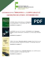 Aquisições de Livros - Fevereiro 2012