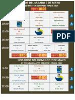 Horarios Del Sáb-dom 6 - 7 Mayo