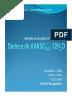Pratica 4 QI3 - Sintese Alúmen de Potassio