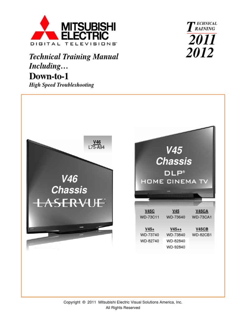 mitsubishi 92 inch tv manual