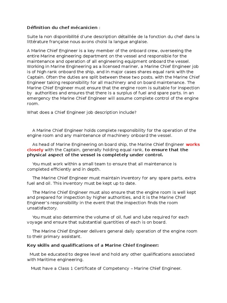 Chief Engineer Job Description   Definition Du Chef Mecanicien Ships Safety