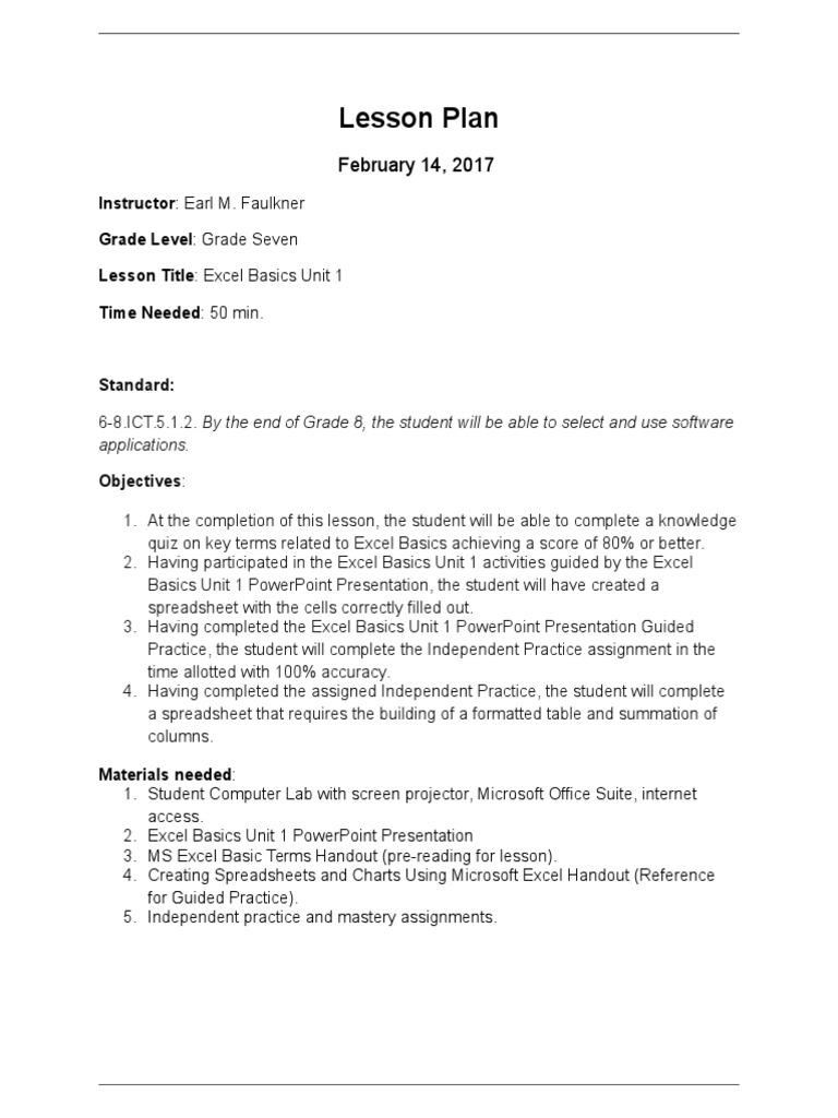 lesson plan microsoft excel spreadsheet