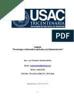 Plan Del Curso Tecnología e Informática Aplicada a La Administración