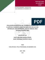 Evaluación Superficial Del Pavimento Por El Metodo Pci - Lima - 2016