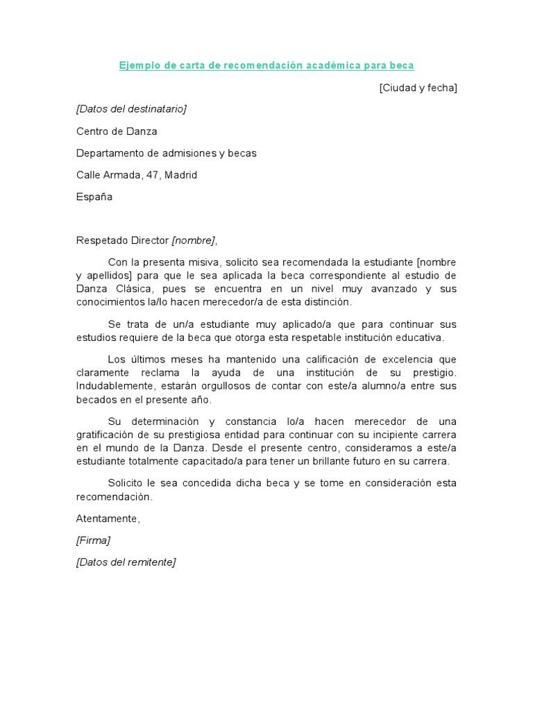 ejemplo de carta de recomendaci u00f3n acad u00e9mica para beca