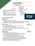 grant washburns resume