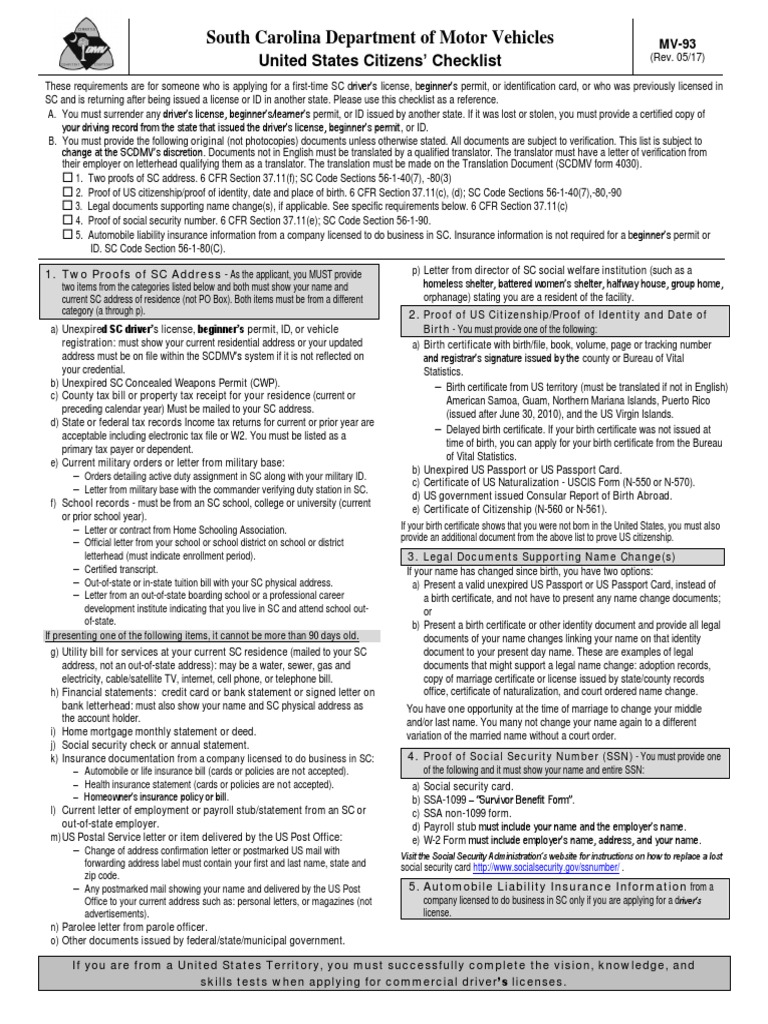 United states citizens checklist scdmv form mv 93 birth united states citizens checklist scdmv form mv 93 birth certificate identity document aiddatafo Choice Image
