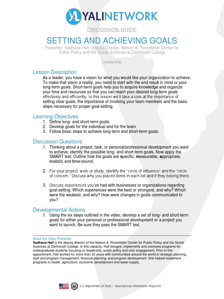 Setting and Achieving Goals Discussion Guide Goal Psychology