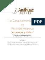 Programa Del Congreso de Psicología Integrativa Anáhuac Oaxaca