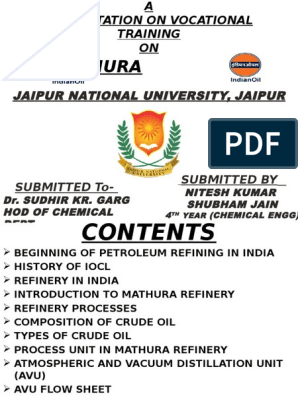 iocl ppt | Oil Refinery | Petroleum