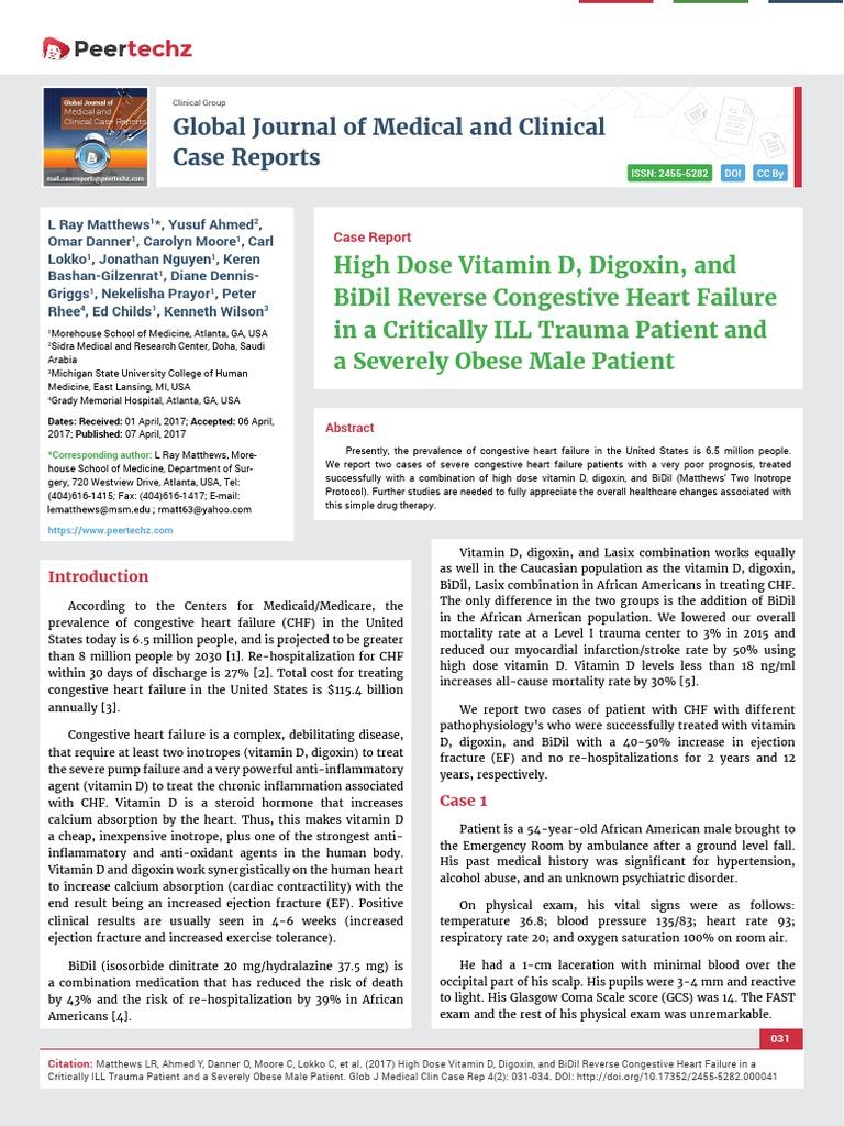 High Dose Vitamin D, Digoxin, and BiDil Reverse Congestive