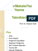 Tez Yazma H Ozel