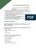 Advance Primavera Course Details