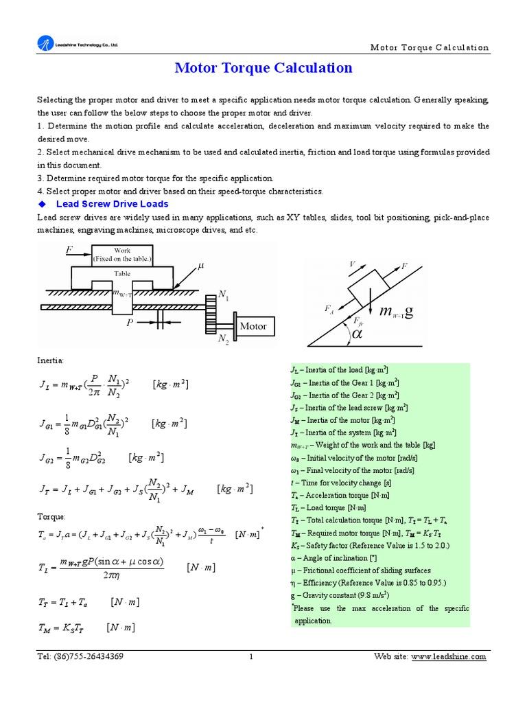 Motor Torque Calculation 1 Pdf