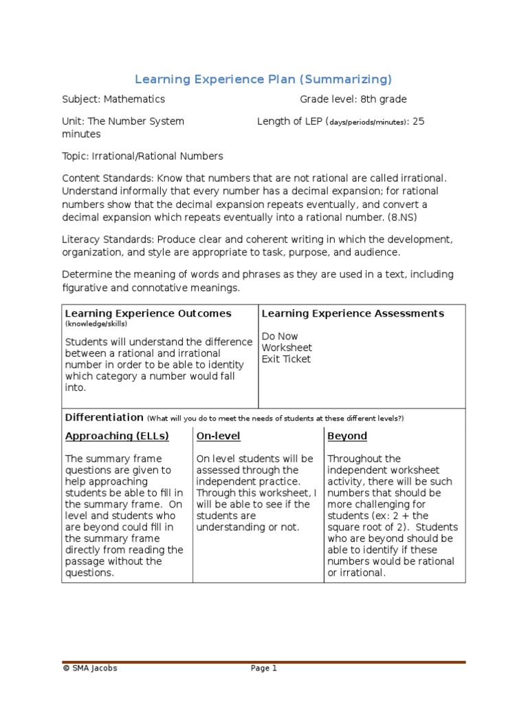 lesson plan summarizing and note taking | Rational Number