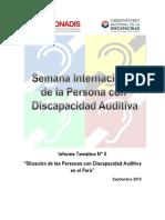 """Informe Temático N° 5 """"Situación de las Personas con Discapacidad Auditiva en el Perú"""""""