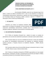 Edital de Assistência Estudantil 2017.1
