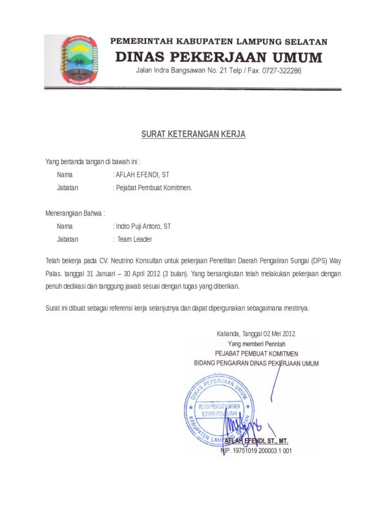 Surat Referensi Kerja Dinas Pu