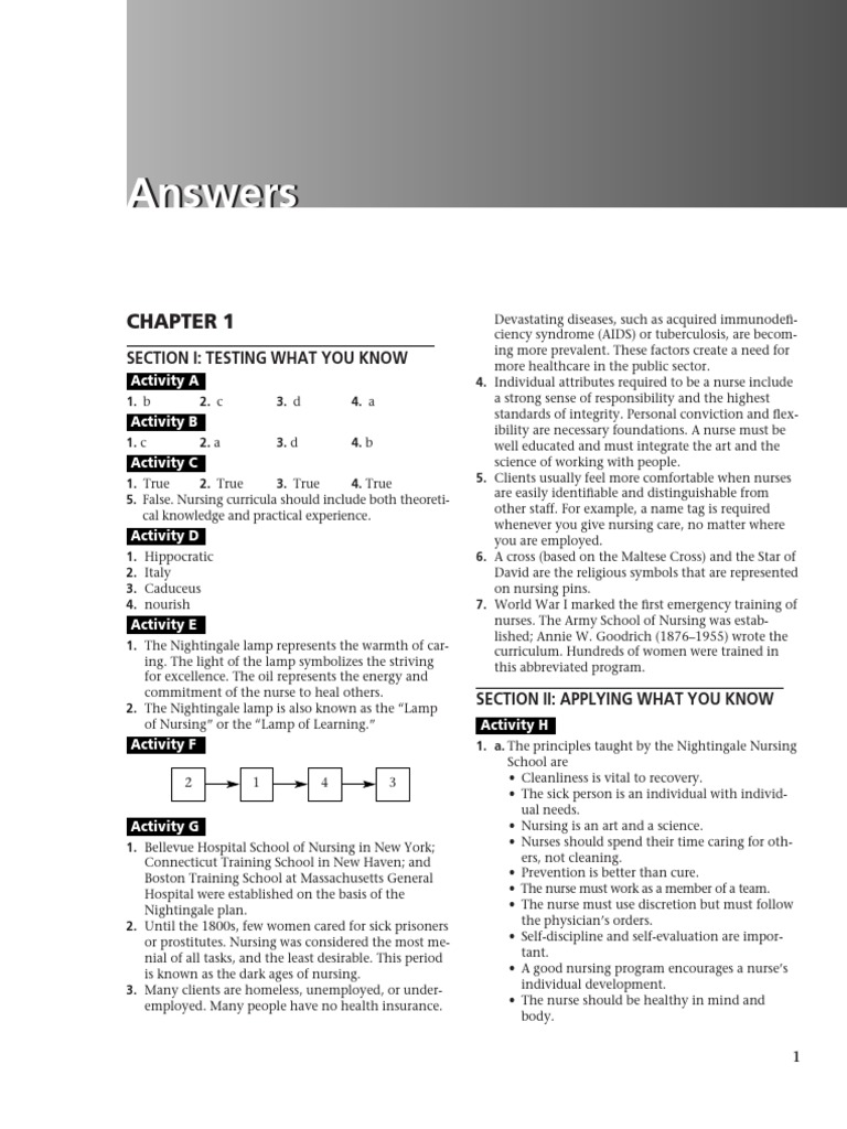 Fundamentals 10 Ed Workbook Answer key.pdf | Nursing | Health Care