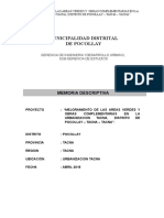 Memoria Descriptiva Mejoramiento Urb. Tacna,Snip 254044