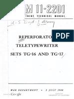 TM11-2201 Reperforator Teletypewriter Sets TG-16 and TG-17