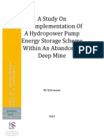 A Study On The Implementation Of A Hydropower Pump Energy Storage Scheme Within An Abandoned Deep Mine