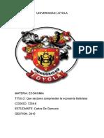 Sectores q Comprende La Economia Boliviana