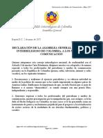 Declaración de la Asamblea General del Cabildo Interreligioso de Colombia a Los Medios de Comunicación - Mayo 2017