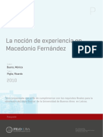 La Noción de Experiencia en Macedonio Fernández