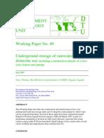 Underground Storage of Rainwater for Domestic Use