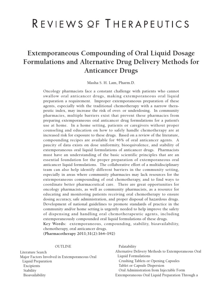 Chemical analysis hydroxyurea of solutions oral functional and