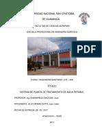 Sistema de Planta de Tratamiento de Agua Potable Ayacucho