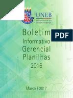 Boletim Informativo Gerencial Planilhas 2016