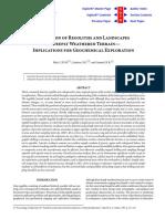 Evolution of Regoliths - Geochemical Exploration