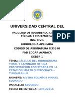 Cálculo Del Hidrograma Total y Laminado de Una Precipitación Registrada en La Estación m0258 Querochaca - Tungurahua