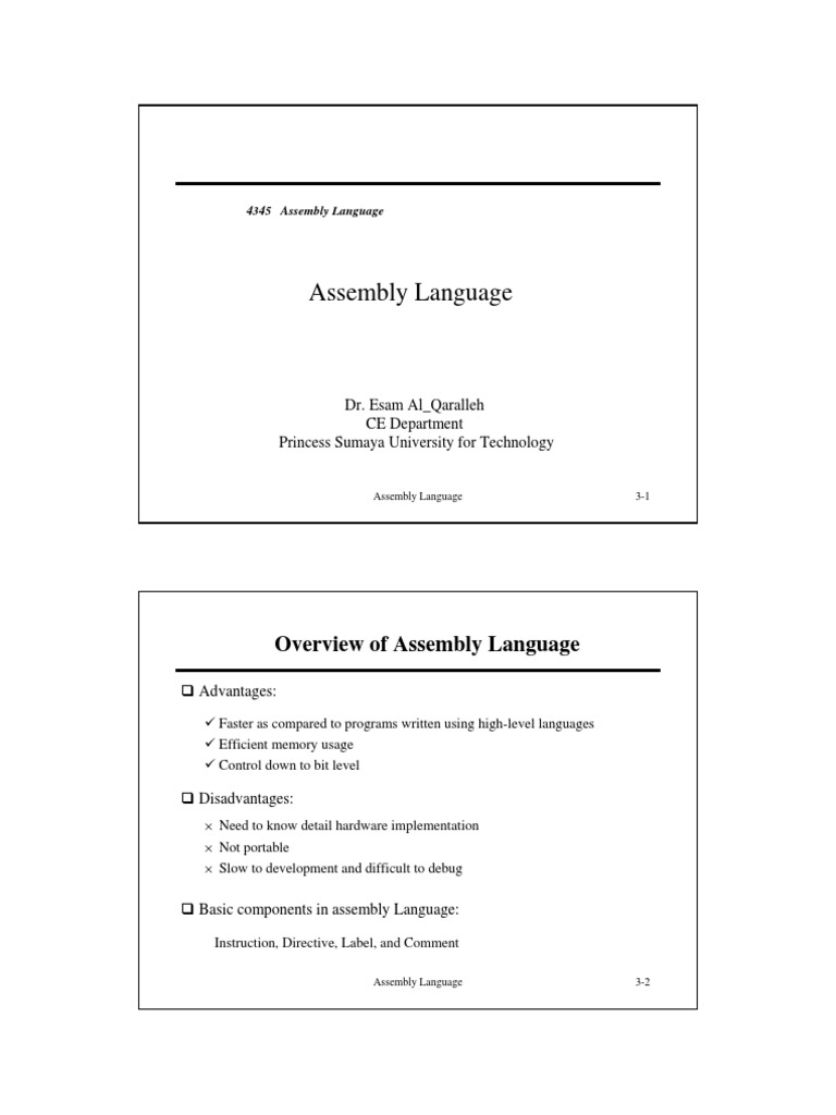 assembly introduction pdf | Assembly Language | Instruction Set