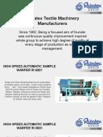 High Speed Automatic Sample Warper RI 6001 - By Rabatex Industries