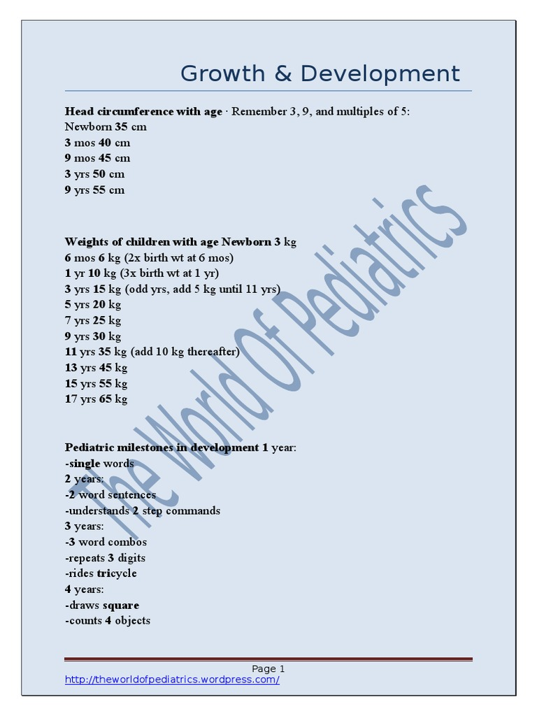 73281455-Pediatrics-Mnemonics docx | Congenital Disorder | Health