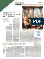 Regis Debray Le Monde + 2 suppléments du jeudi 4 mai 2017