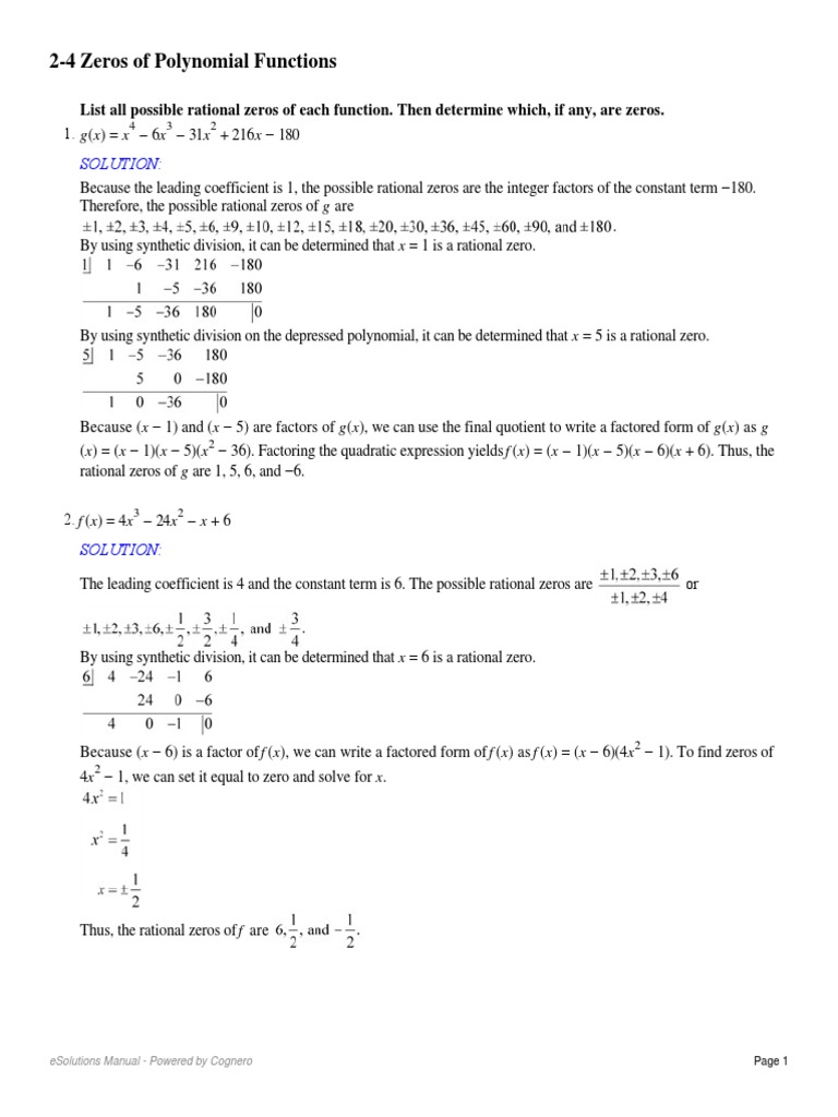 2-4 Zeros of Polynomial Functions | Factorization | Polynomial